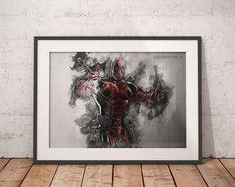 Deadpool print wall art home decor