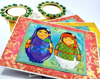 Babushka dolls card set/ All occasion card/ Indian ethnic/ Indian cards/ Indian Babushka doll/ set of 4 cards/ card for teachers/ New home