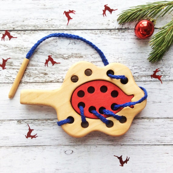 Gift for Toddler Girl, Organic Lacing Toy, Ladybug educational toy, Montessori Toy, Toddler Gift, Kids Gift, Baby Gift, Christmas Gift Idea