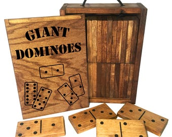 Giant Dominoes with Custom Storage Box - 28 Solid Wood Yard Dominoes included in set