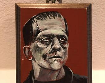 Frankenstein Karloff Painting on Wood Block Horror Universal Monsters