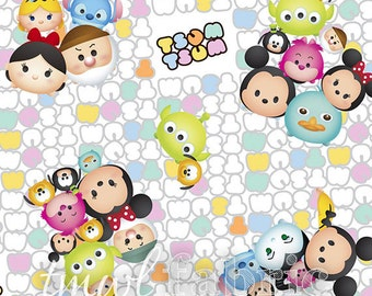 Woven Fabric - Disney Tsum Tsum Group Toss with Patterned Logo - Fat Quarter Yard +