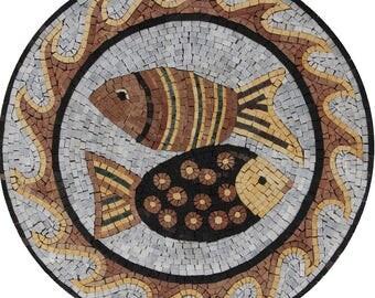 Pisces Fish Zodiac Round Mural Wall Decor Marble Mosaic AN1873