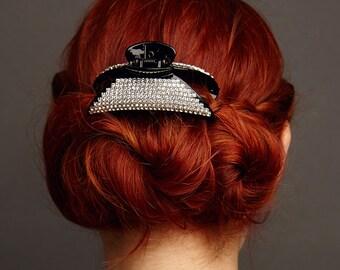 Crystal Hair Clip Black Hair Claw Clip Wedding Hair Clip Rhinestone Hair Clip Hair Jaw Clip Hair Clamp Hair Clip Claw Moon Hairclip
