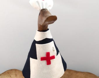 Medium Wooden Nurse Duck