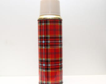 60s/70s Tartan Metal Thermos - Red Plaid Thermos Flask