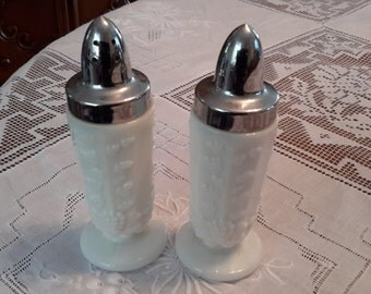 Vintage Westmoreland Milk Glass Paneled Salt and pepper Shakers, grape design, shabby chic, cottage chic, paneled, silver top, romantic deco