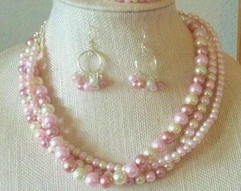 Multi-Pink acrylic bead layered necklace, bracelet & earrings