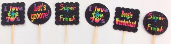 Black 70's party cupcake toppers, 80's cupcake toppers, 70's cupcake toppers, 70's party, 80's party, old school cupcake toppers, 12 toppers
