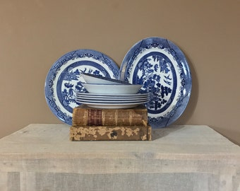 10 pc Blue Willow Platter Set/Blue Willow China/Churchill Blue Willow/ Blue and White China/Blue Willow Dishes/Blue and White Platter/Church