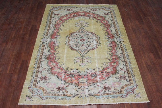 Overdyed Yellow Rug Vintage Rug Recolored Rug Authentic Rug