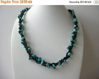 ON SALE Vintage Black Glass Seed Beads Simulated Stones Turquoise Necklace 42617