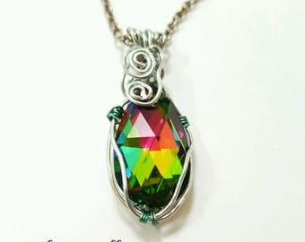 Wire wrapped swarovski necklace, rainbow swarovski pendant, wire wrapped crystal necklace, rainbow crystal jewelry, wire wrapped jewelry