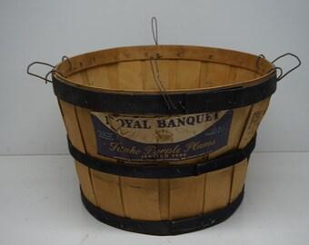 Unique Royal Banquet Idaho Purple Plums Italian Type Wooden Bushel Basket, Vintage Advertising
