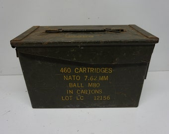 Vintage Military Ammo Box, Metal Ammo Can, Army Bullet Case, NATO 7.61mm 460 Cartridges, Army Green