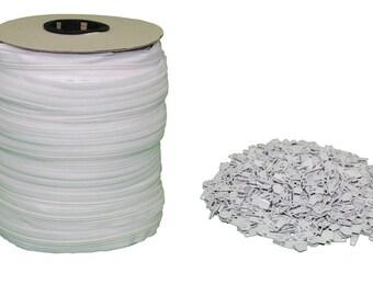 White #5 Zipper 250 Yards [750 Ft] Roll - Includes 250 Zipper Heads