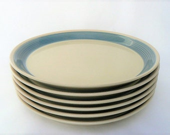 One Mikasa Discovery Dinner Plate in the Blue Thunder Series - Beige / Tan Interior with Blue Band- Made in Japan- Ben Seibel Design 10 3/4""