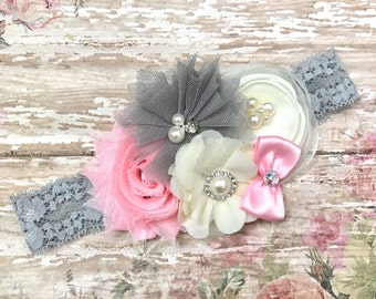 Pink Grey ivory baby Headband-Pink ivory Baby Headband-light pink and grey headband-Grey pink ivory baby Headband-Pink and grey headband