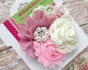 Vintage hair bow-fancy vintage flower hair clip-ivory pink mauve bow-couture hair bow-vintage pink ivory hair bow-ivory and pink fabric bows