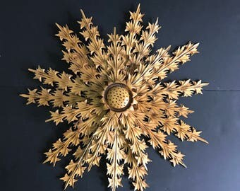 wood carved flower vintage star midcentury wall hanging starburst wall decor sunflower - Starburst Wall Decor