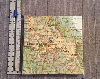 Atlas Map of your favorite place - 3 inch x 3 inch covered canvas