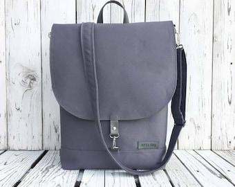 Gray Canvas Backpack, Vegan Solid Rucksack, Unisex Backpack