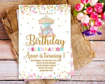 Gold Carousel Birthday Invitation, Merry Go Round Birthday invitation, whimsical rainbow circus invite, Carousel 1st Birthday invite