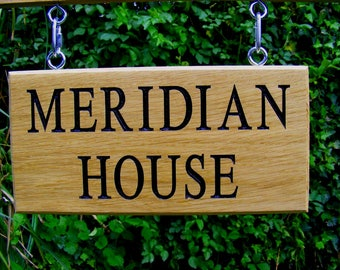 Personalised, Engraved, Wooden, Oak,Outdoor, Hanging, Address, House Name/Number Sign