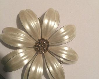 Vintage Enamel Flower Brooch  Pearl White Brass Center