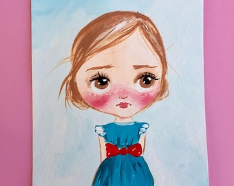 Aceo original acrylic painting artist trading card mini painting mini art girl illustration