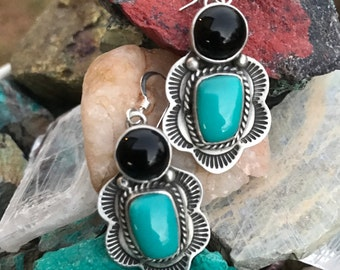 Vintage Native American Indian style turquoise earrings, Southwest style earrings, turquoise and black onyx earrings, turquoise earrings