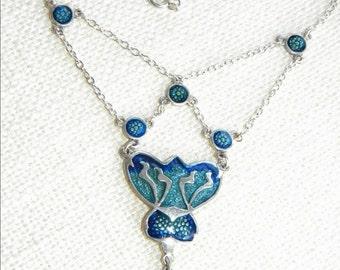Art Nouveau style Silver 925 necklace ~ Blue ENAMEL beautiful ~ in2163