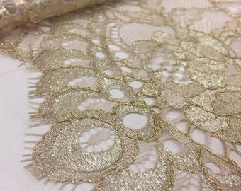 Blush Gold lace fabric, French Lace, gold yarn lace , chantilly gold lace fabric