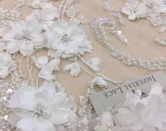 off White beaded lace fabric, pearl and sequins , emroidered white soft lace fabric, B00170