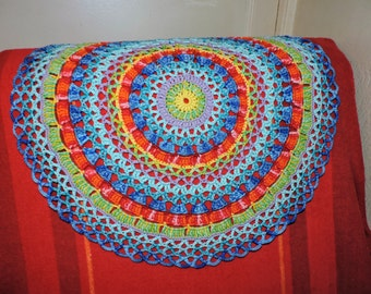 Doily multicolor Rainbow mandala giant 100% cotton
