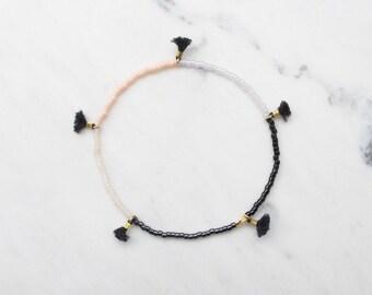 New York Ballerina tiny tassel, delicate beaded friendship bracelet