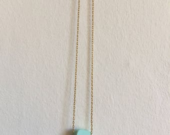 Mint solitaire asteroid necklace