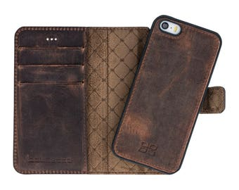 iPhone SE 5 5S Detachable Wallet Case - Snap-on Case (2 Case in 1), iPhone 5S Case, Perfect for Cards and Cash,iPhone Se in AnticBrown