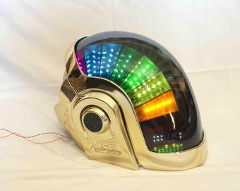 DAFT PUNK 2017 Manuel Gold Chrome Helmet, Super high quality, Rare collectible, With Full LEDs Kit !