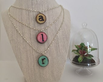 Custom Initial Necklace / Personalized Jewelry / Monogram / Wood Burned Pendant / Pyrography Jewelry / Wood Pendant / Custom Jewelry