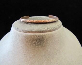 Vintage Signed Copper Etched Cuff Bracelet