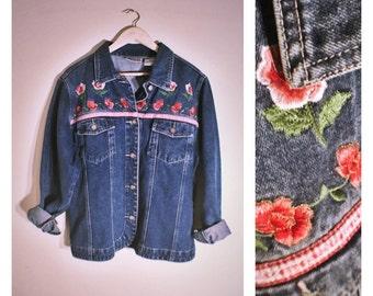 80s Bill Blass jean jacket w/ floral decor