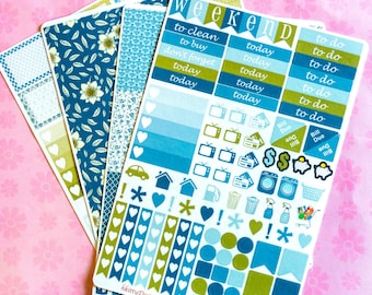 Blue Sage Weekly Sticker Kit For Your Erin Condren Life Planner - 160 Stickers