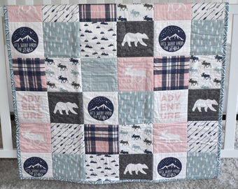 READY to SHIP -Moose Adventure quilt, minky quilt, woodland nursery, adventure, modern nursery, girl nursery