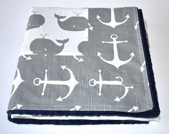 SHIPS TOMORROW - Whales and Anchors Blanket - nautical blanket