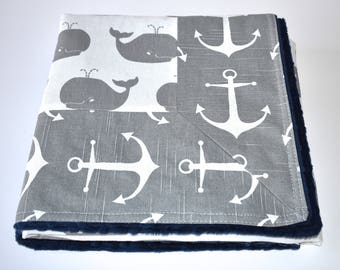 Whales and Anchors Blanket - nautical blanket