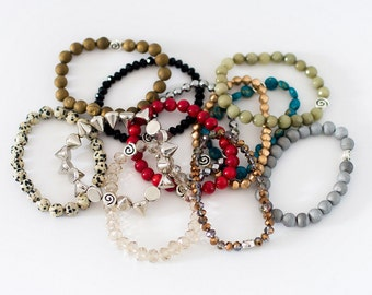 6 Piece Stackables Grab Bag, Beaded Stretch Bracelets, Stacking Bracelets, Multicolored Bracelets, Mix and Match Bangles