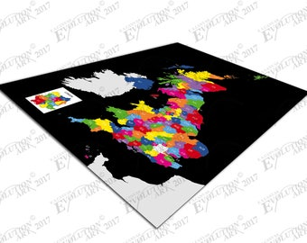 Print on Canvas colour postcode map of the United Kingdom with black X1819