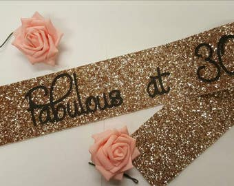 GOLD Birthday Sash - 30 and Fabulous 40 50 60 70 gold glitter handmade