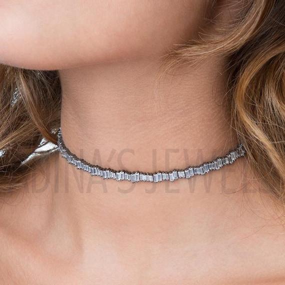 Rhinestone Necklace Cubic Zirconia Rhinestone Choker Necklace Baguette Necklace Baguette Choker Baguette Rhinestones Wedding Jewelry